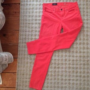 "J CREW ""toothpick"" pants t-ankle coral pinwale 28"